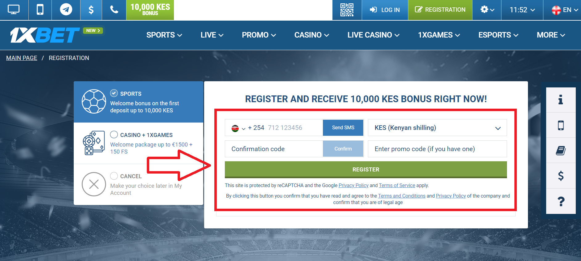 How to Register 1xBet